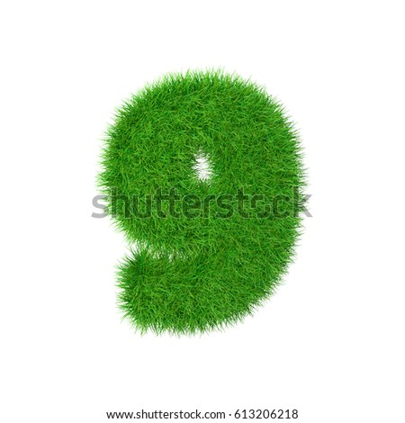 Grass number 9 isolated on white, 3d illustration
