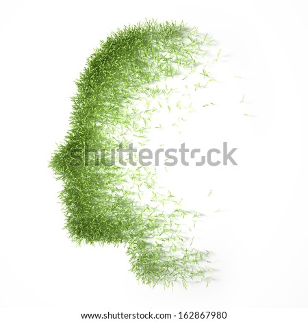Grass patch shaped like a face - stock photo