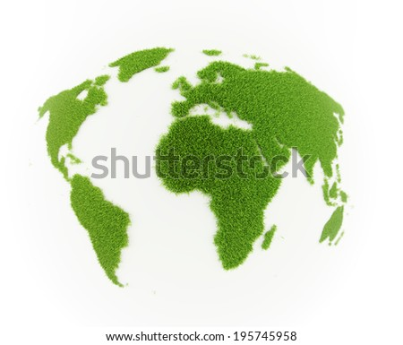 Grass patch shaped like the world map - stock photo
