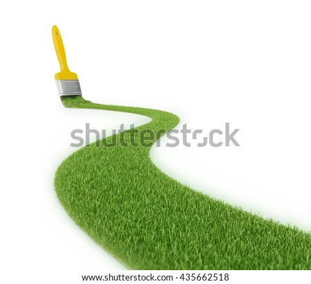 Grass pathway made with a stroke of a paintbrush - 3D illustration - stock photo