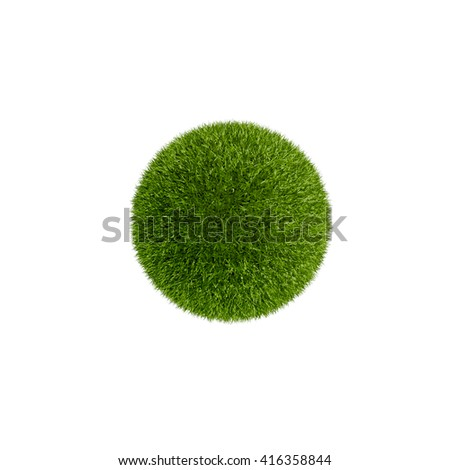 Grass Planet, isolated on white - stock photo