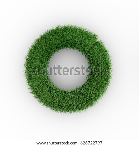 Grass ring on a white background. Grass frame.  3D rendering