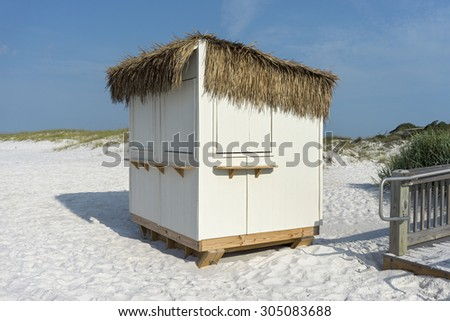 Grass roof concessions stand or hut at a Florida beach. - stock photo