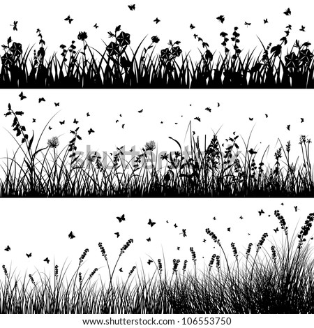 Grass silhouette background set. All objects are separated.