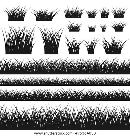 Grass silhouette seamless pattern and bushes. Nature background. Horizontal black contour, isolated on white. Symbol of field, meadow, fresh, summer. Design element environment. illustration.