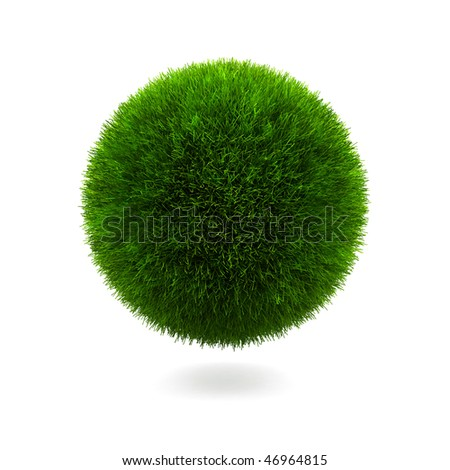 Grass sphere isolated on a white background. - stock photo