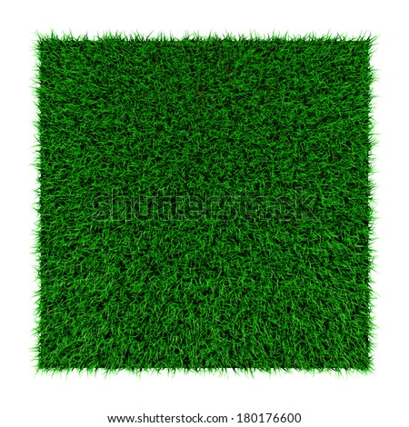grass squared portion isolated on white background - stock photo