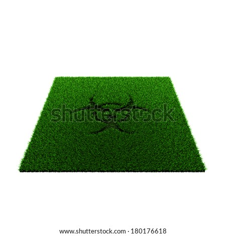 grass squared portion with biohazard sign isolated on white background