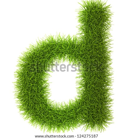 Grass style Latin Alphabet Letters and Numbers Isolated on white background