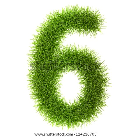 Grass style Numbers Isolated on white background
