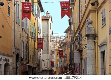 GRASSE, FRANCE - MAY 3: Architecture of Grasse Town in the southern France on May 3, 2013 in Grasse, France. Grasse is famous for its perfume industry. The city was founded in the XI century.