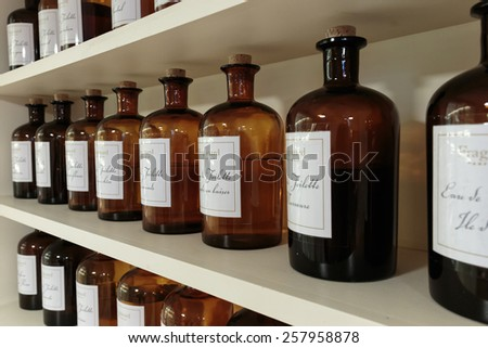 GRASSE, FRANCE - OCTOBER 31, 2014: Hall presentations perfume to the factory Fagonard - stock photo