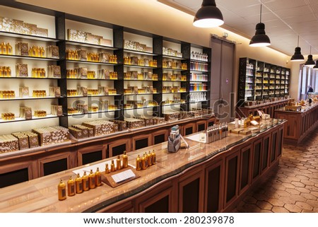GRASSE, FRANCE - OCTOBER 31, 2014: Hall presentations perfume to the factory Fagonard - stock photo