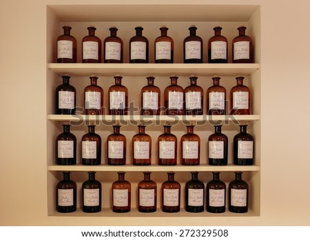GRASSE, FRANCE - OCTOBER 31, 2014: Hall presentations perfume to the factory Fragonard - stock photo