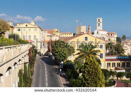 GRASSE, FRANCE - OCTOBER 31, 2014: Panoramic view of downtown, Grasse is the world perfumes capital with the famous Fragonard perfumery. - stock photo
