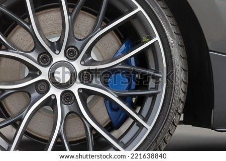 Grasshopper resting on rims of a sportscar - stock photo
