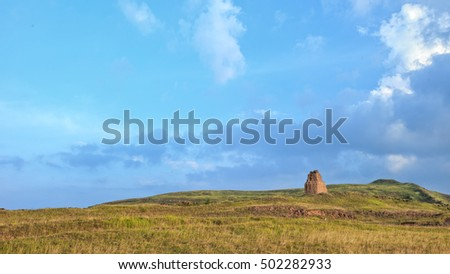 Grassland with a dramatic blue sky in the early morning