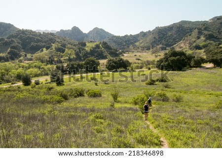 Grasslands Trail overlooking park, Malibu Creek State Park, CA - stock photo
