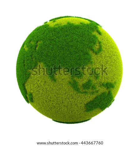 Grassy Green Earth Planet Asian Side Isolated on White Background 3D Illustration - stock photo