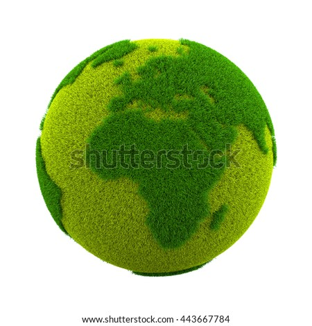 Grassy Green Earth Planet European and African Side Isolated on White Background 3D Illustration