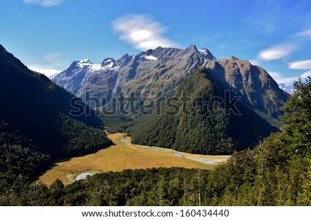 Grassy Mountain Valley, Routeburn Track, New Zealand - stock photo
