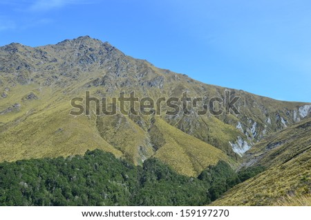 Grassy Mountains, Queenstown, New Zealand - stock photo