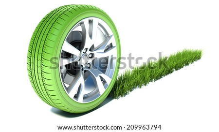 Grassy trace from a good wheel. Ecology transport concept - stock photo
