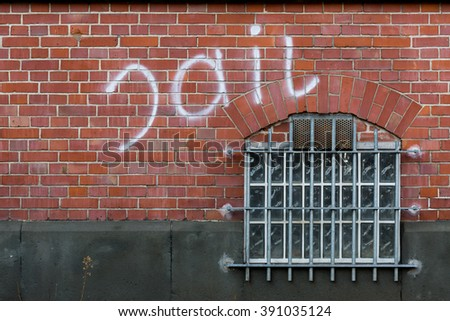 Grate and window of a prison cell - stock photo