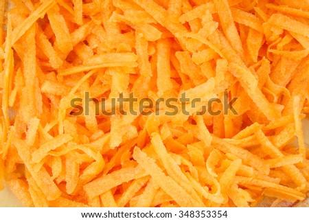 grated carrots macro - stock photo