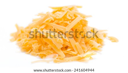 Grated Cheddar Cheese isolated on pure white background - stock photo