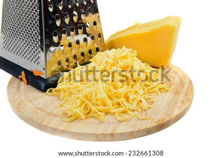 grated cheese  ingredient on white - stock photo