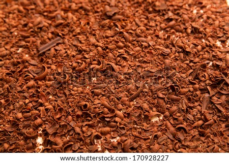 Grated chocolate as a background