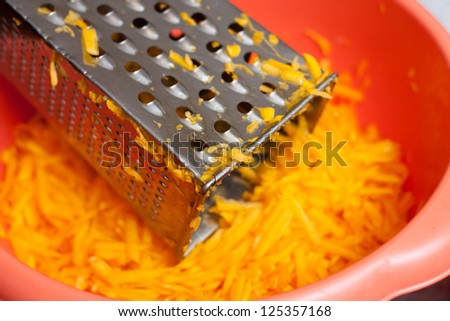 Grated pumpkin for a pie