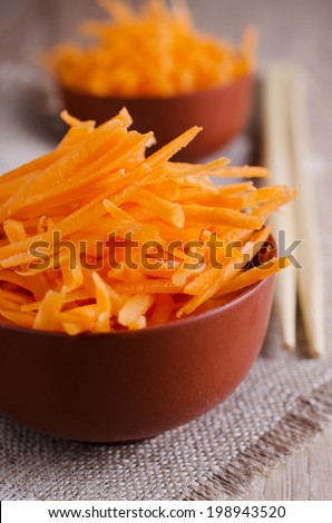 grated red carrots lying in a bowl