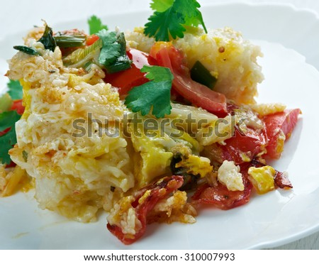 Gratin with pasta, beaten eggs, and  vegetables