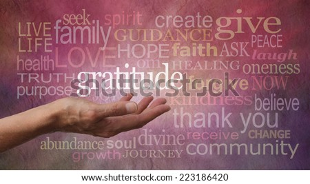 Gratitude Attitude - Female hand outstretched with palm up and the word 'Gratitude' hovering above with a pink and purple stone effect background covered in different sized 'Gratitude' words  - stock photo