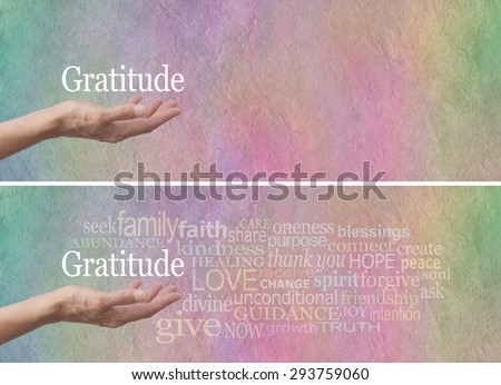 Gratitude Attitude Word Cloud - Female hand outstretched with palm up and the word 'Gratitude' hovering above surrounded by a relevant word cloud on a rainbow colored stone effect background  - stock photo
