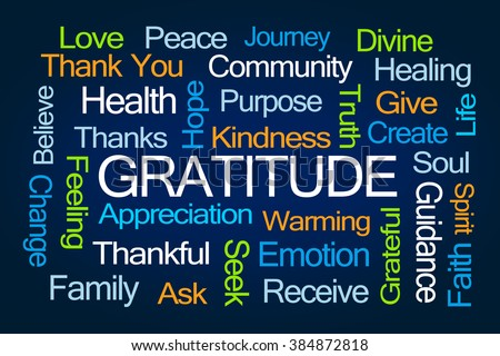 Gratitude Word Cloud on Blue Background - stock photo