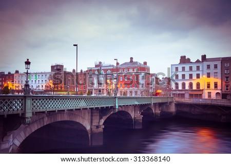 Grattan Bridge over the River Liffey in Dublin Ireland - stock photo
