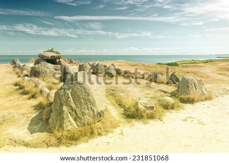 Grave Harhoog in Keitum on the island Sylt, Germany  - stock photo
