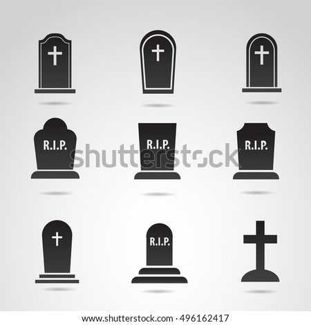 Grave icon set isolated on white background.