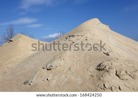 gravel mound mountain for concrete making - stock photo