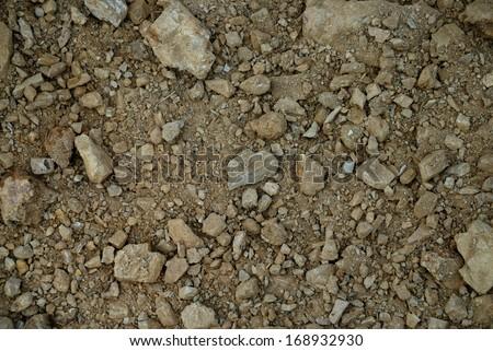 gravel, pebbles and soil closeup  background  - stock photo