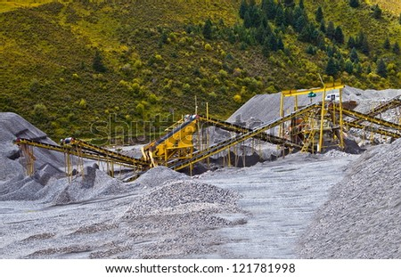 Gravel pit and Belt conveyors - stock photo