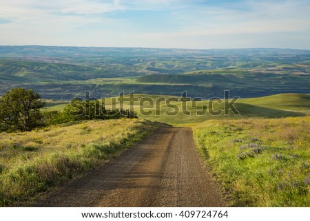 Gravel Road among Hills in Eastern Washington - stock photo
