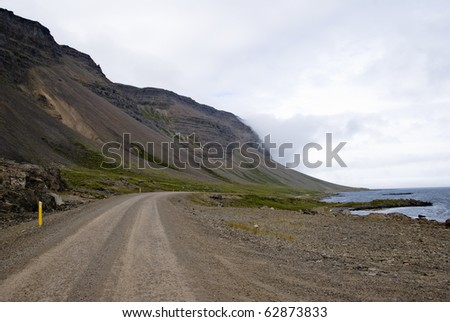 Gravel road in southern fjords, Iceland