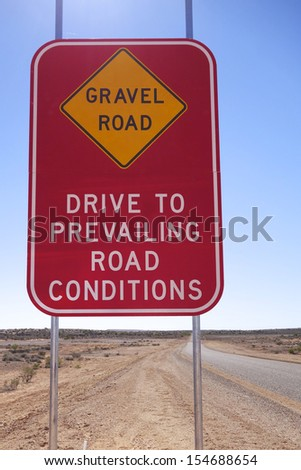 Gravel Road sign in outback Australia