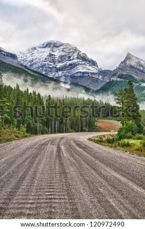 Gravel Road through the mountains, Kananaskis Alberta, Canada