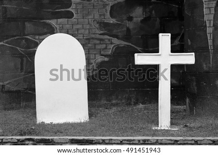 Graves and cross stone, black and white tone