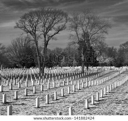 Graves, Arlington National Cemetery - stock photo